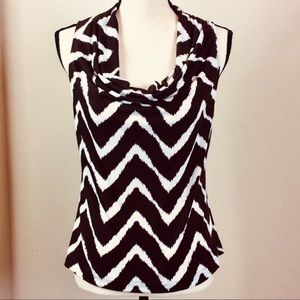 INC Sleeveless Scoop Neck Blouse Brown And White